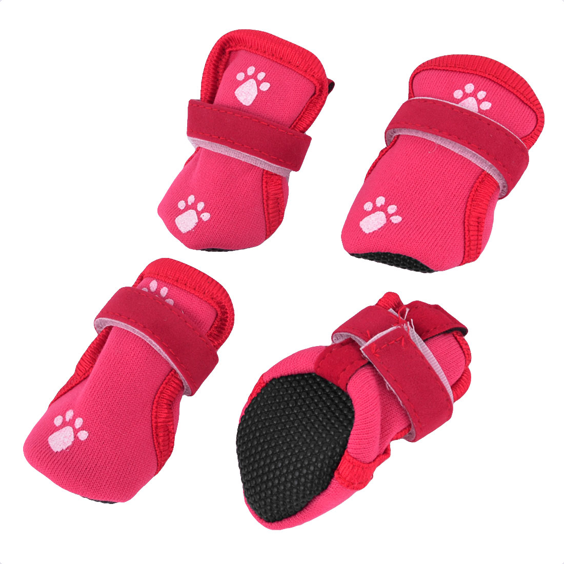 2 Pairs Paw Print Detachable Closure Pet Dog Puppy Booties Shoes Red XS