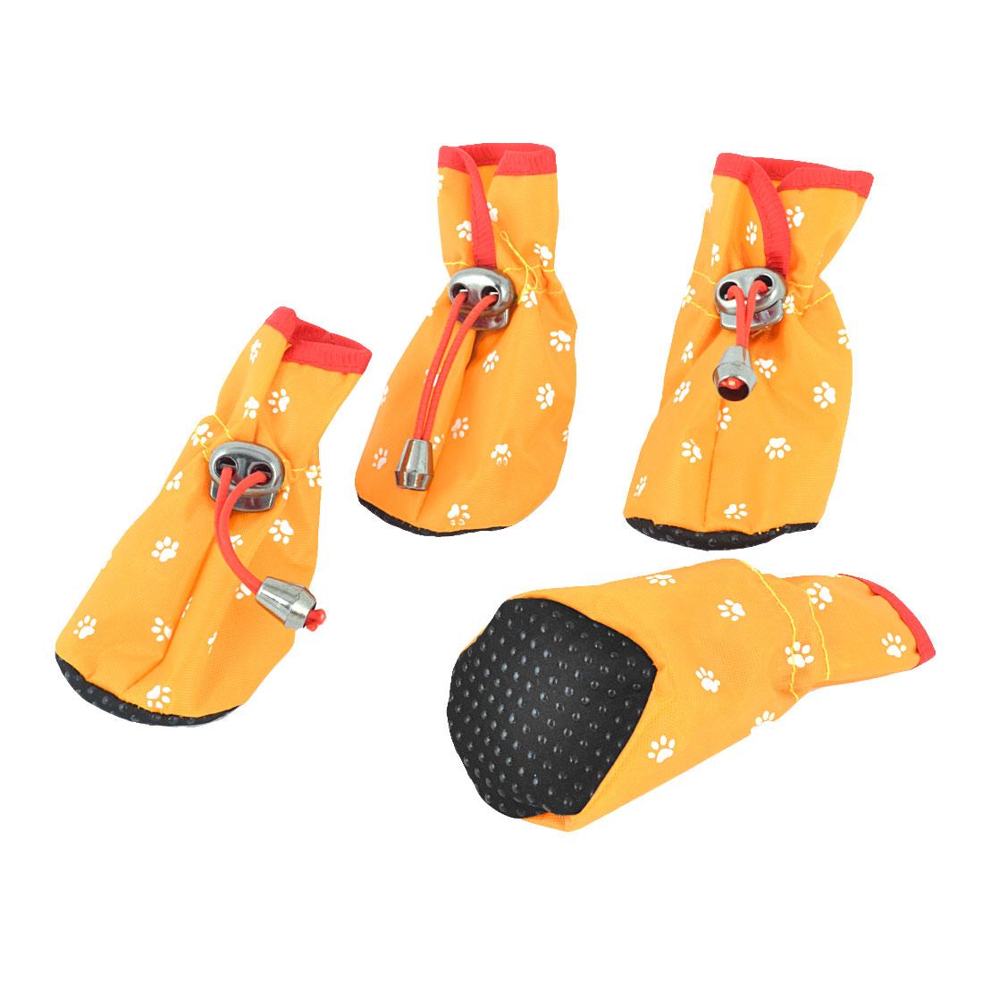 2 Pairs Nonskid Sole Paw Printed Pet Dog Yorkie Rainshoes Booties Yellow XXS