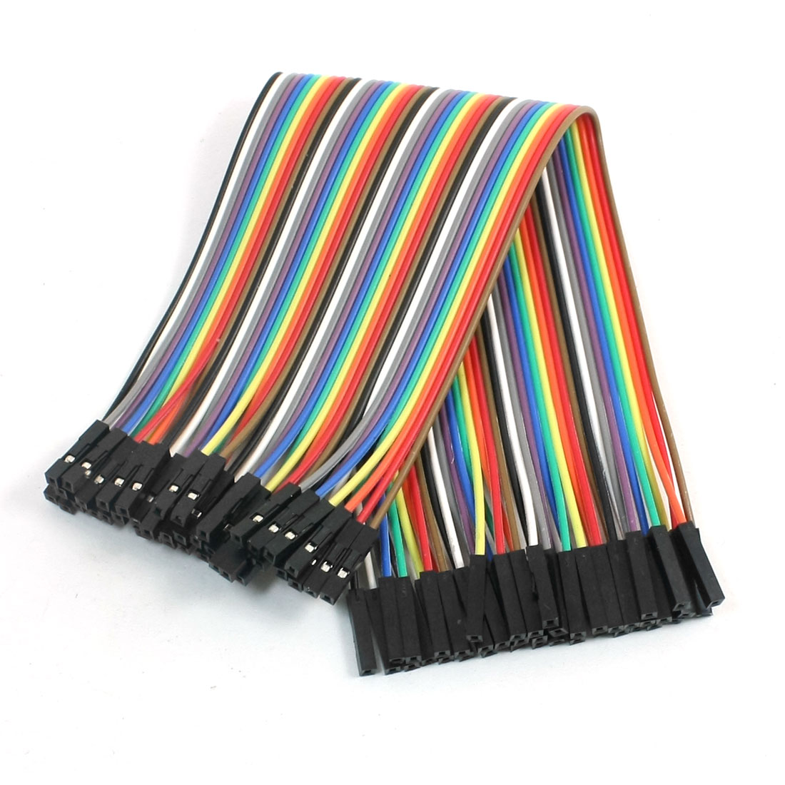 40pcs 1 Pin Female to Female Dual Head Jumper Cable Wires Colorful