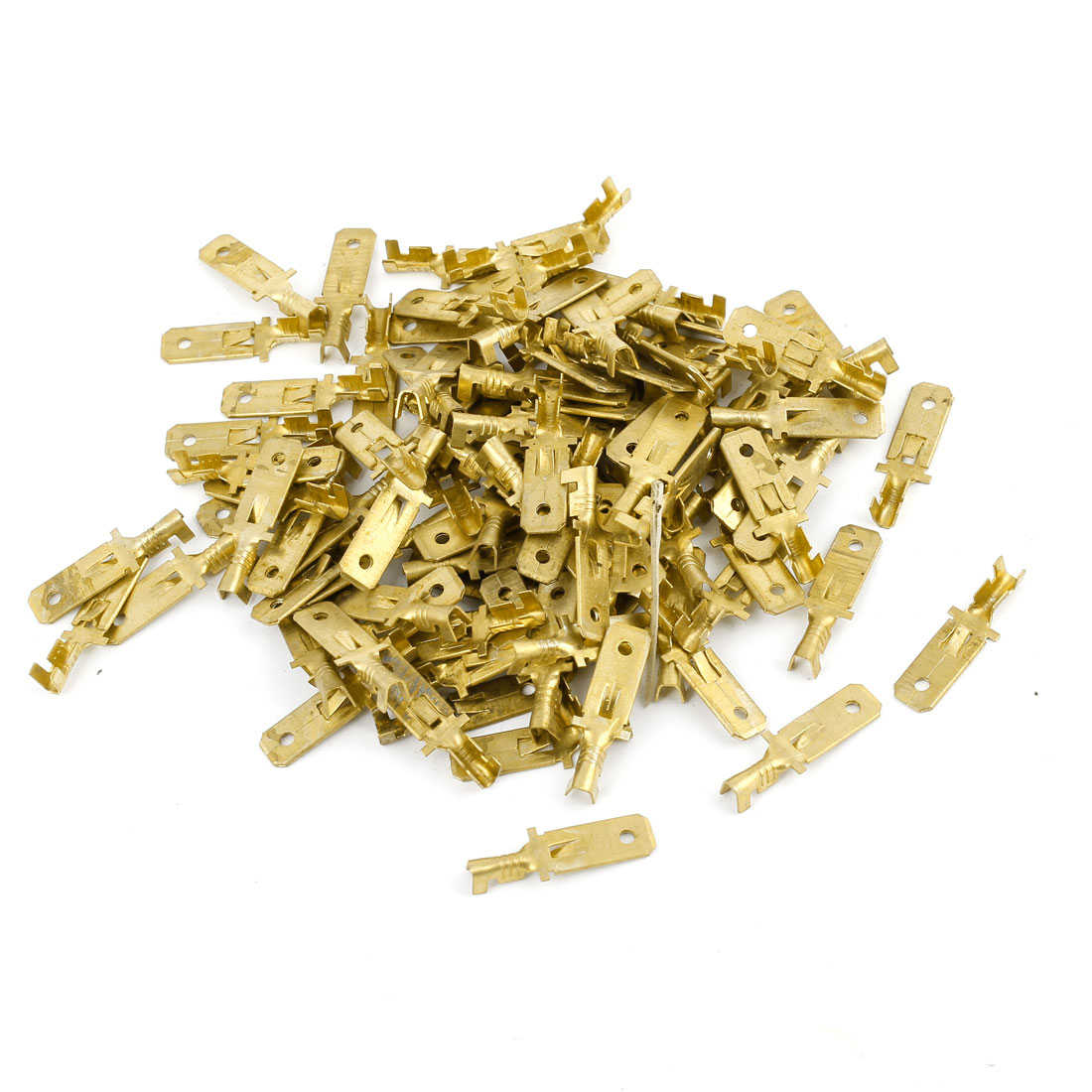 100 Pcs Car 6mm Speaker Spade Male Terminal Cable Connector Gold Tone