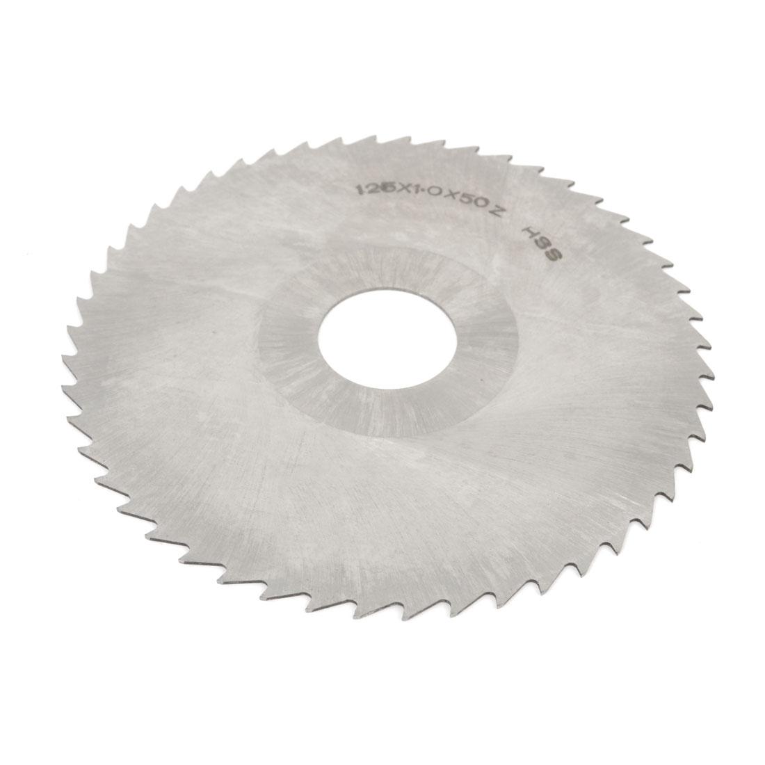 HSS 50 Teeth Circle Milling Cutter Slitting Saw 125mmx27mmx1.0mm