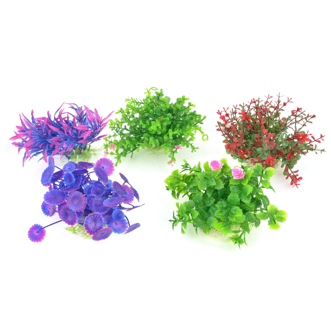 Fish Tank Artificial Multicolored Water Grass Ornament 10cm Height 5 PCS