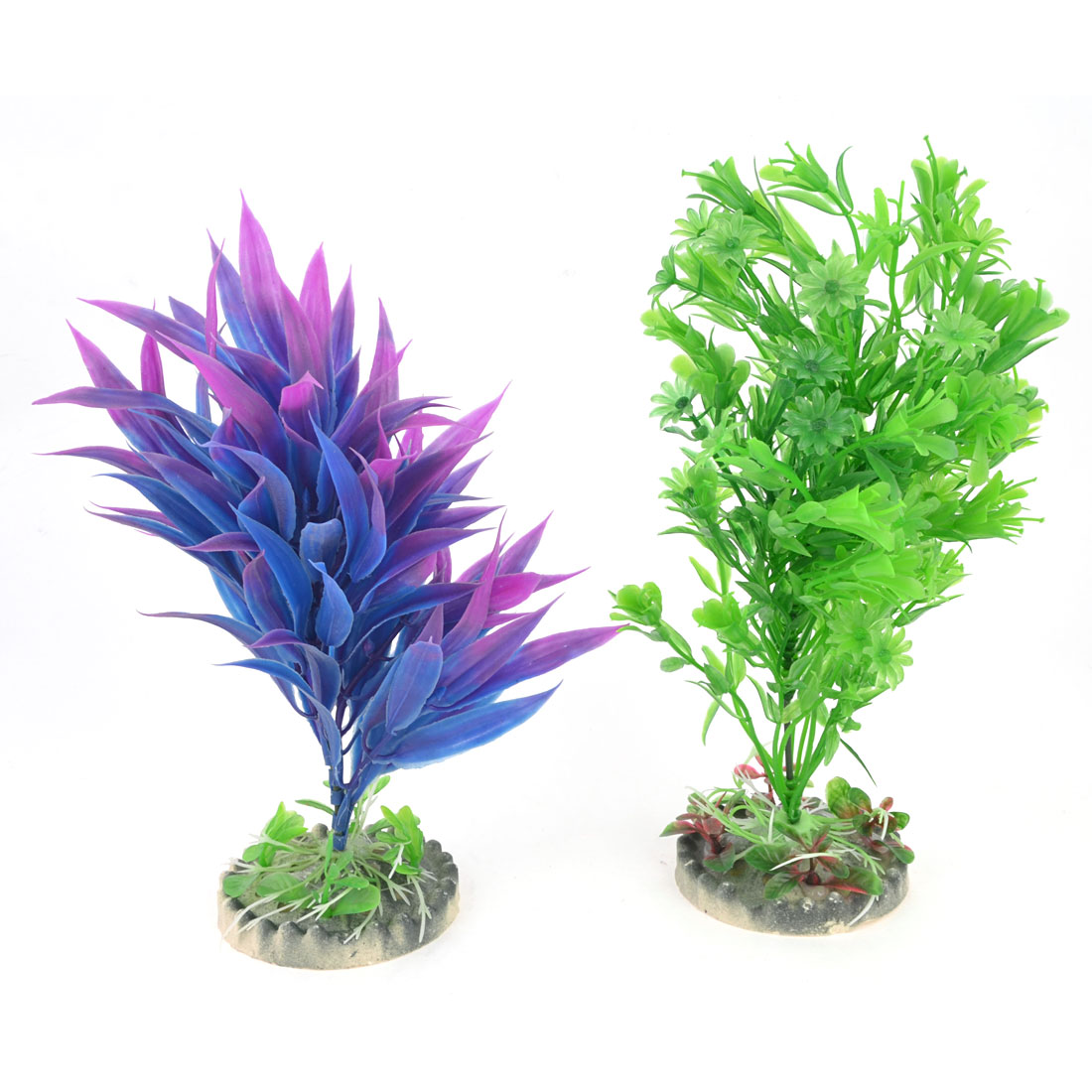 Fish Tank Fuchsia Blue Artificial Water Grass Ornament 23cm 22cm Height 2 PCS
