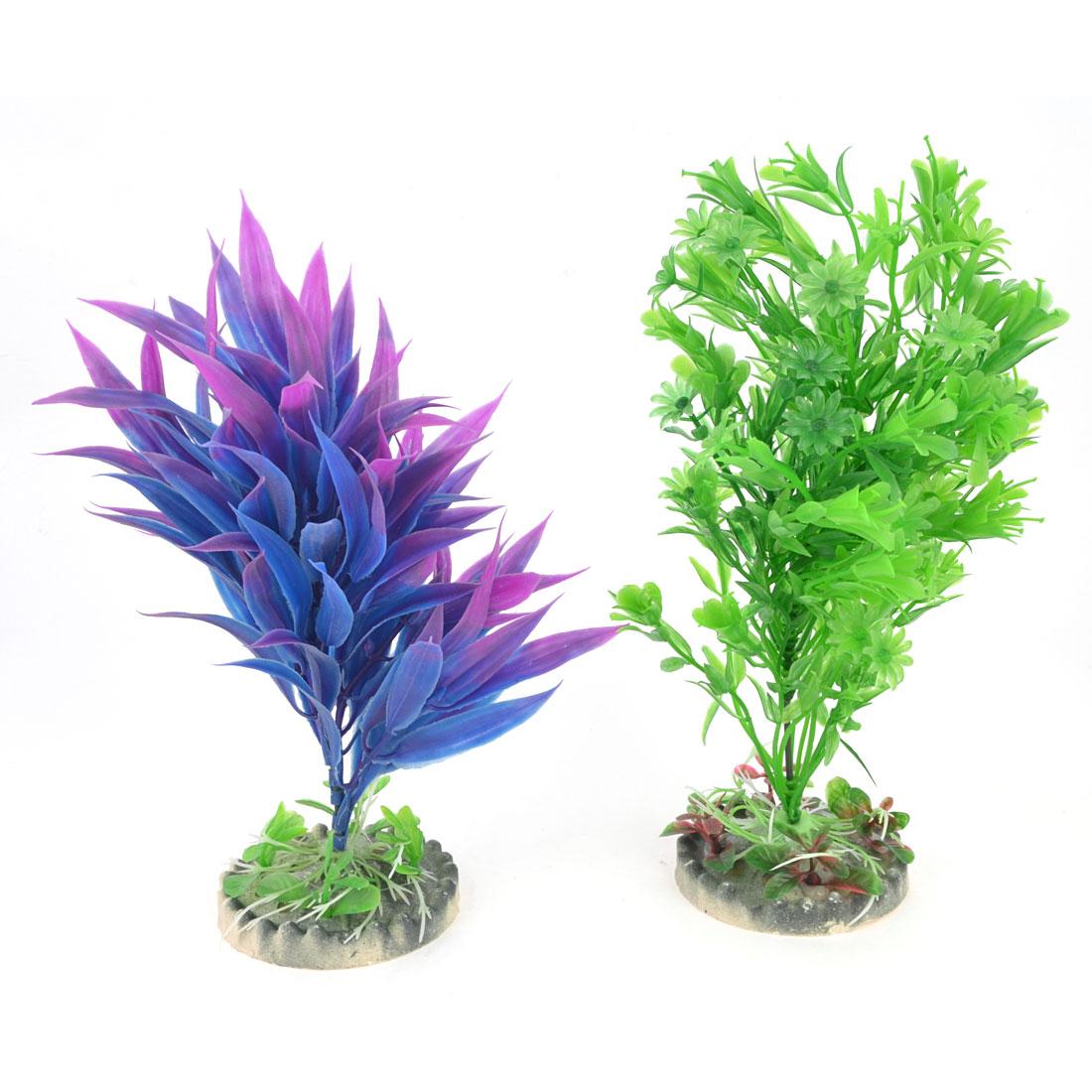Fish Tank Fuchsia Blue Artificial Water Grass Ornament 23cm 22cm Height 2 PCS