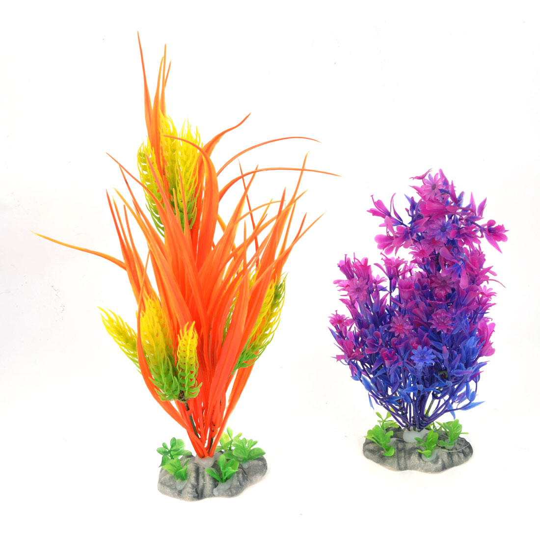 Fish Tank Artificial Multicolored Water Grass Ornament 33cm 27cm Height 2 PCS