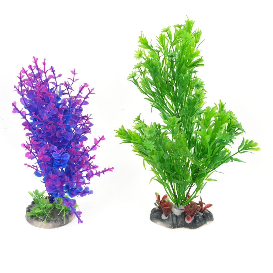 2 PCS Fish Tank Artifiacial Water Grass Ornament 22cm 27cm Height