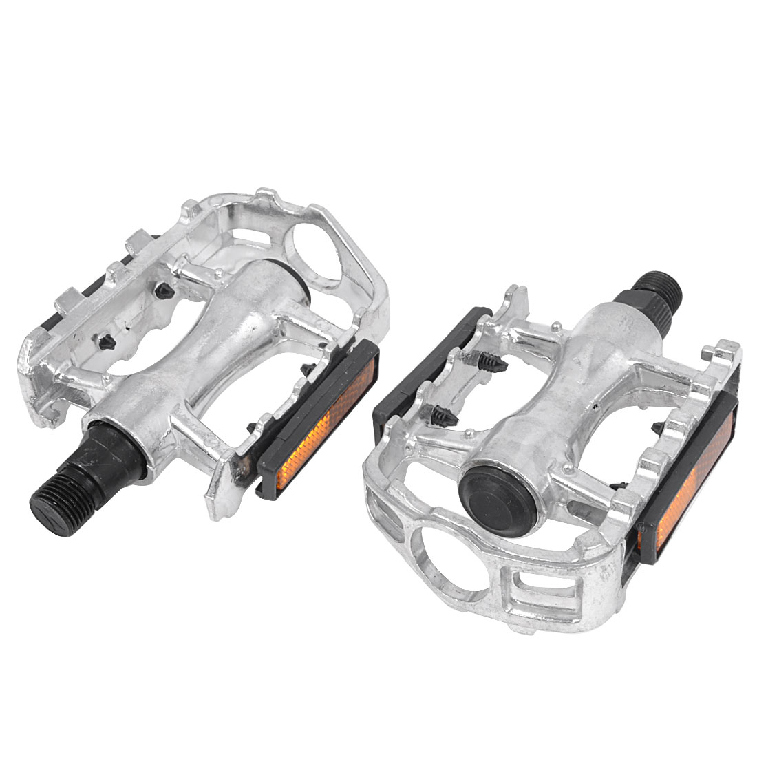 Mountain Road Bike Bicycle Silver Tone Aluminium Platform Pedals 2pcs