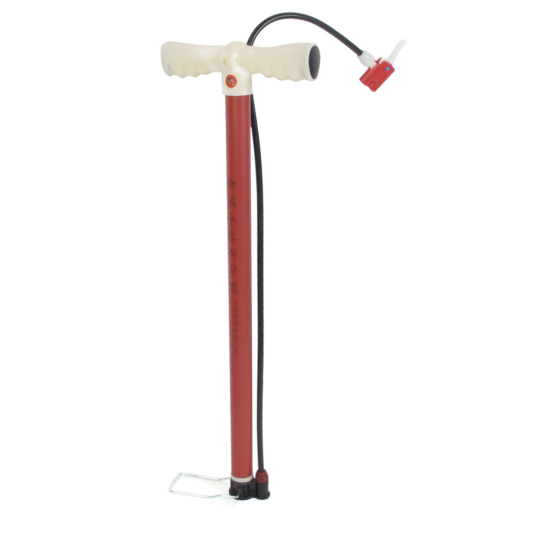 Beige Plastic Handle Red Metal Bike Bicycle Tire Hand Pump