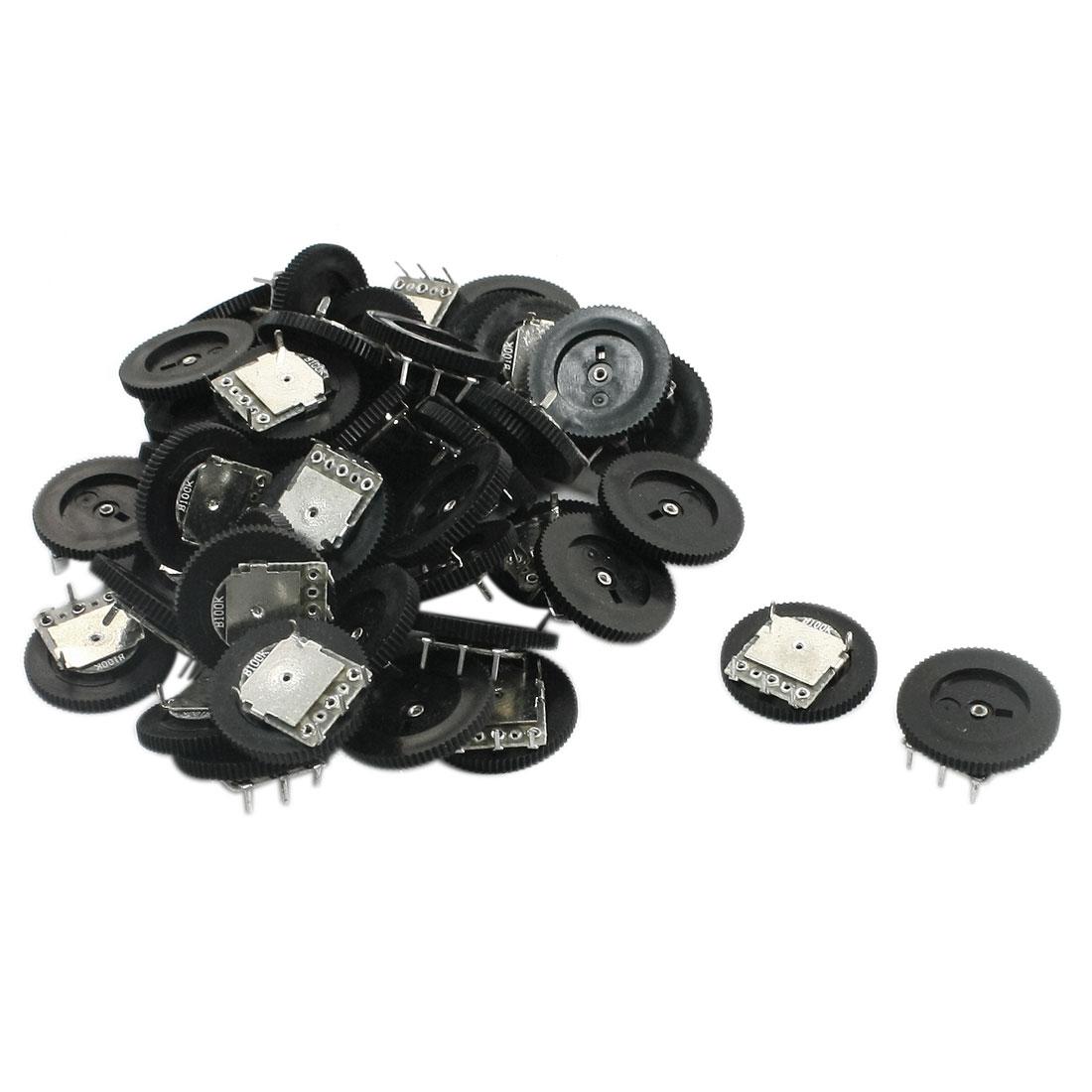 50Pcs 18mm x 3mm B100K 100K Ohm Reverse Audio Tumb Wheel Potentiometer