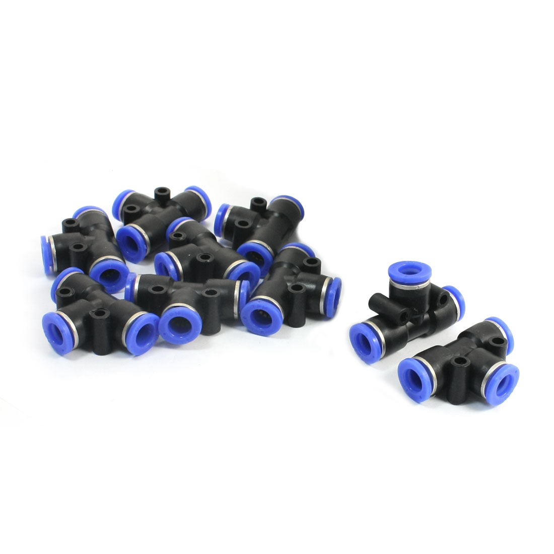 10 Pcs 8mm to 8mm Quick Connect 3 Ways T Shaped Tee Union Black Blue Plastic Pneumatic Push In Fittings Quick Joints Tubing Connectors