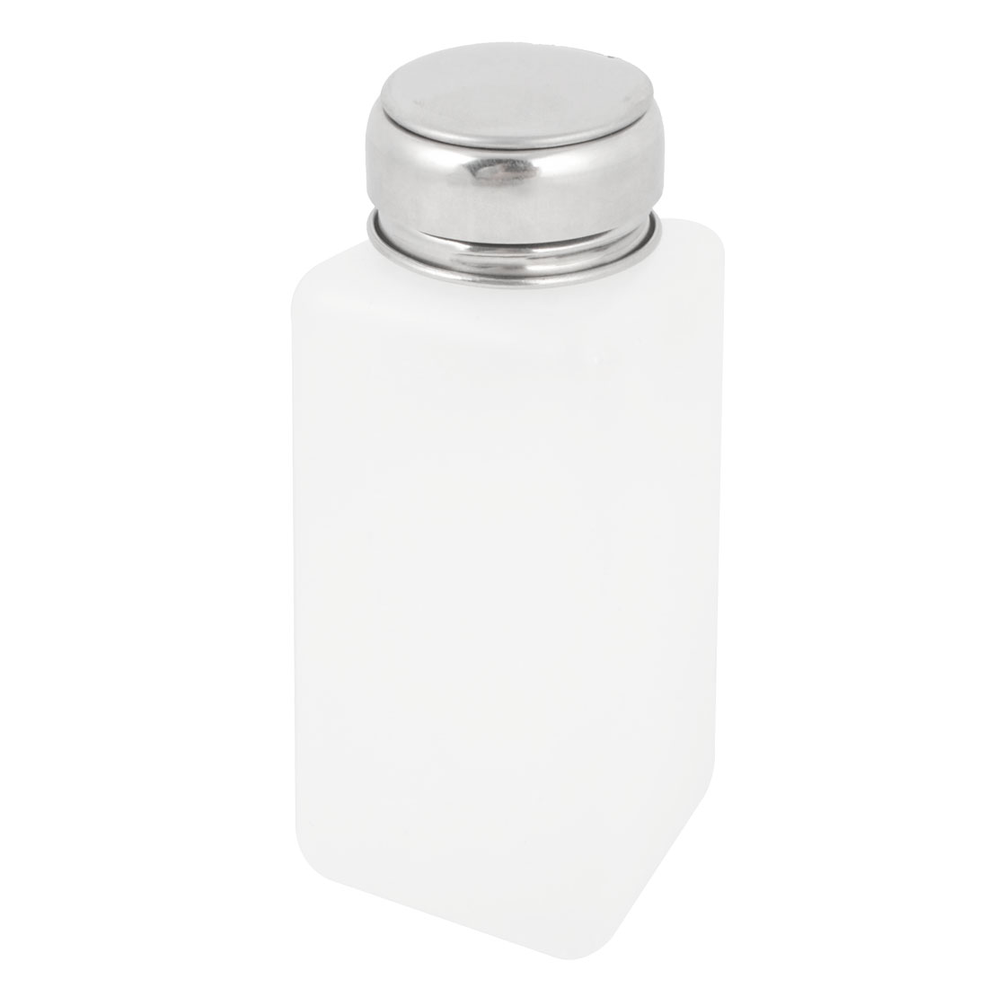 Silver Tone Metal Lid 250ml Plastic Liquid Storage Alcohol Bottle White