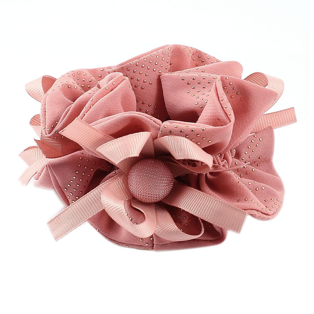 Woman Pink Bowtie Button Dot Decoration Elastic Hair Tie Ponytail Scrunchie Holder