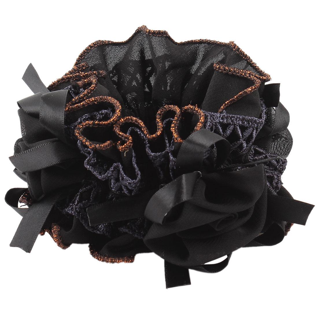 Black Chiffon Flower Decoration Elastic Hair Tie Hairband Ponytail Scrunchie Holder