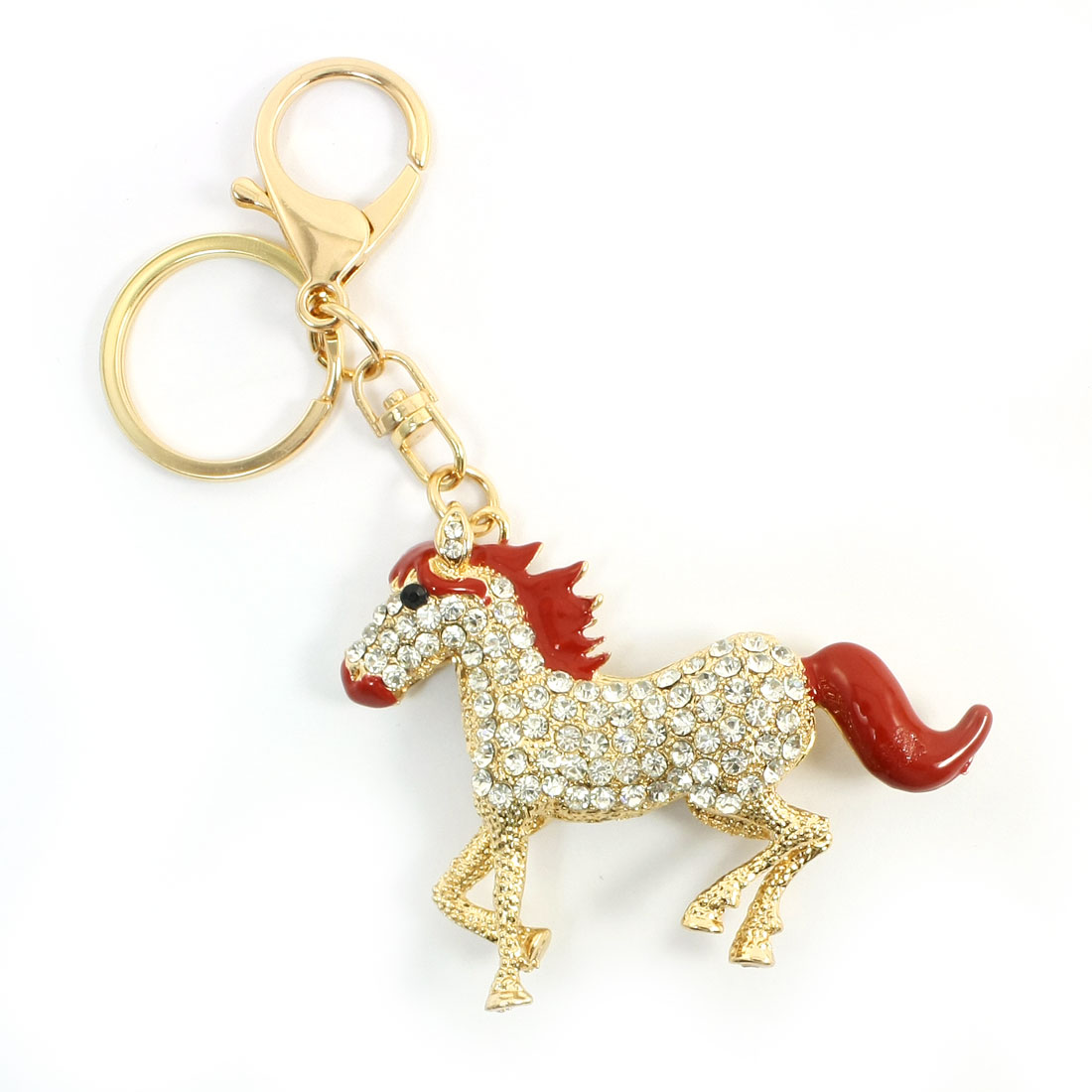 Plastic Faceted Rhinestone Inlaid Hollow Horse Design Keyring Keychain