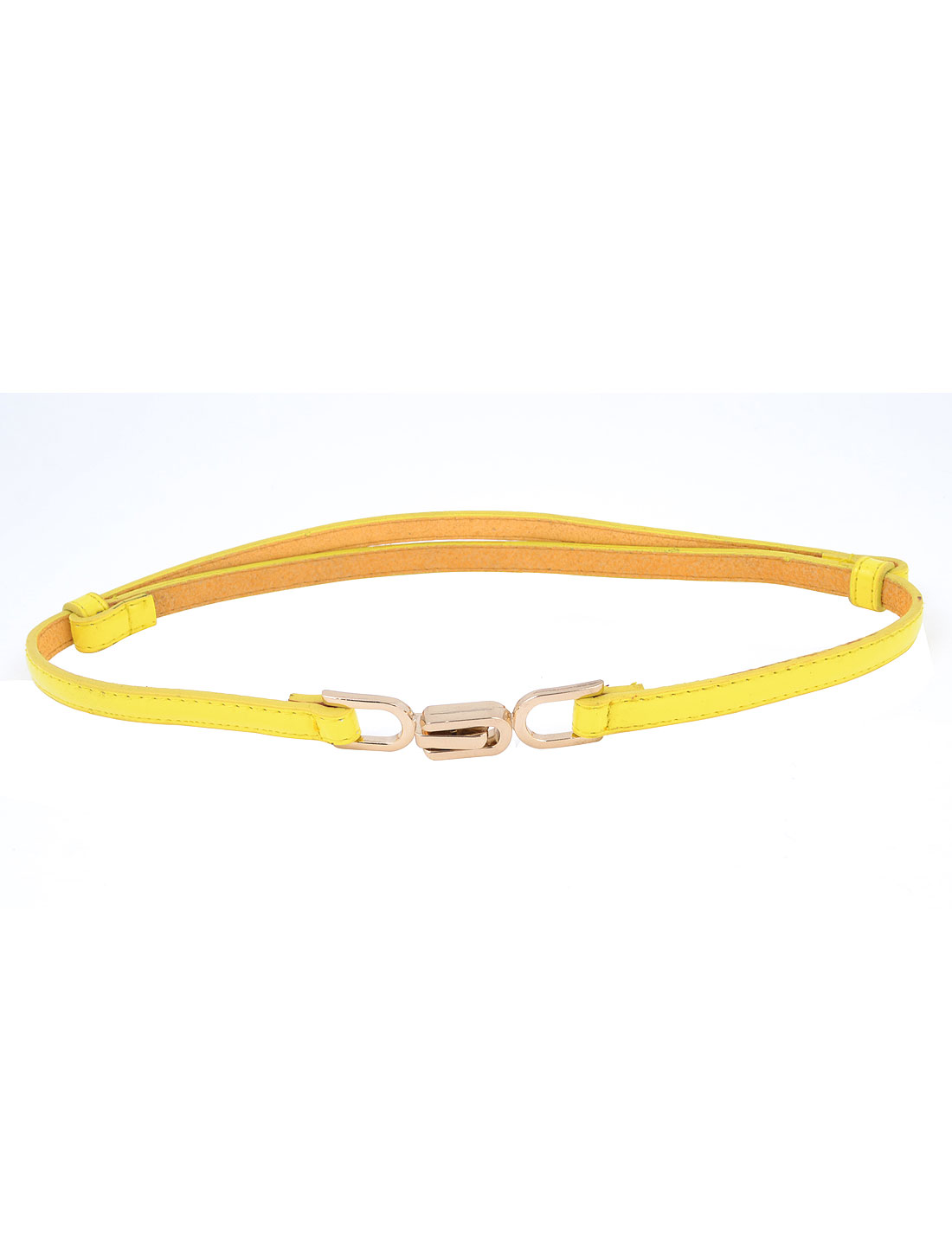 Women Dress Shirt Decor Interlocking Buckle Patent Leather Adjustable 1.2cm Width Waist Band Belt Yellow