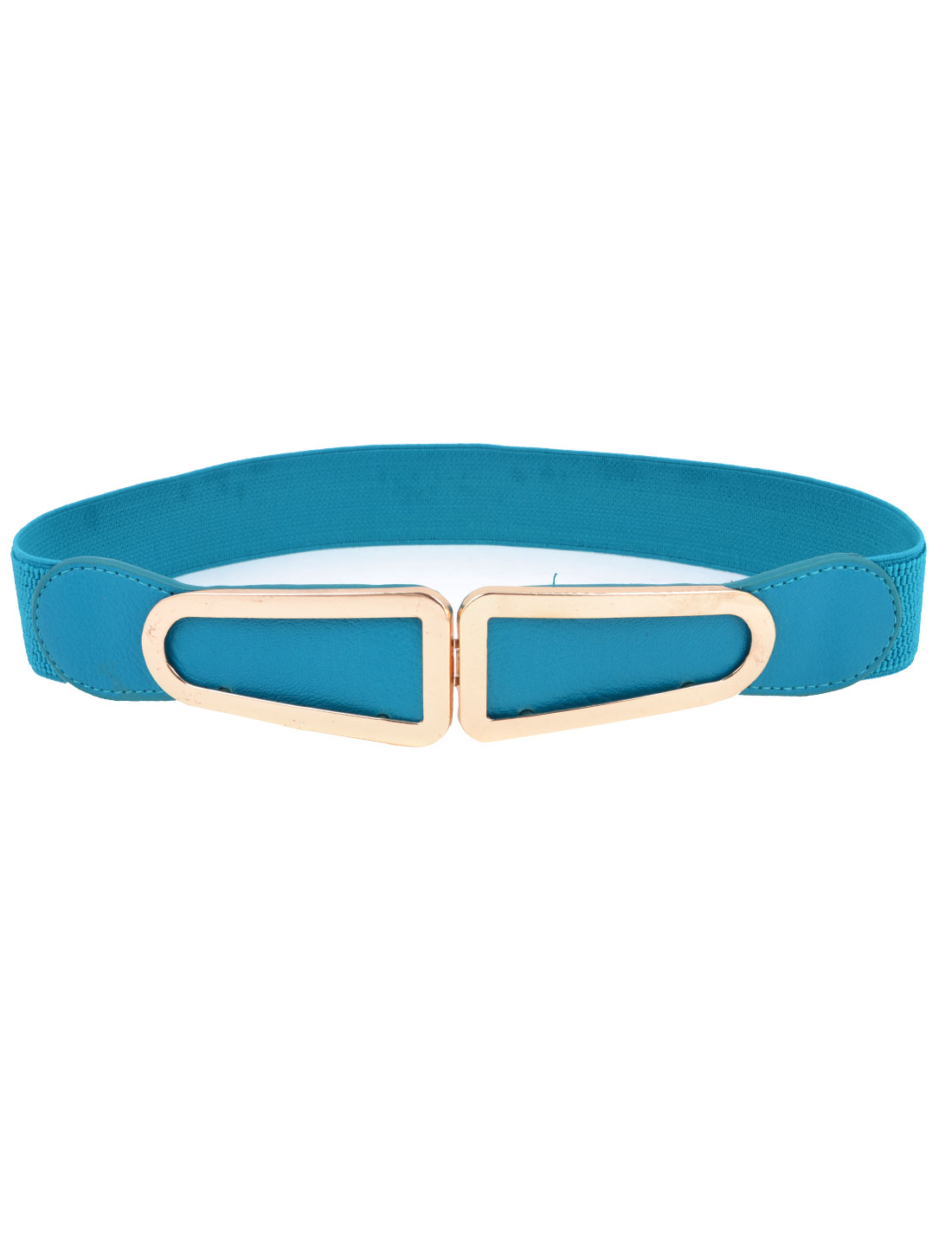 Women D Style Metal Interlocking Buckle 3.5cm Wide Stretch Belt Teal