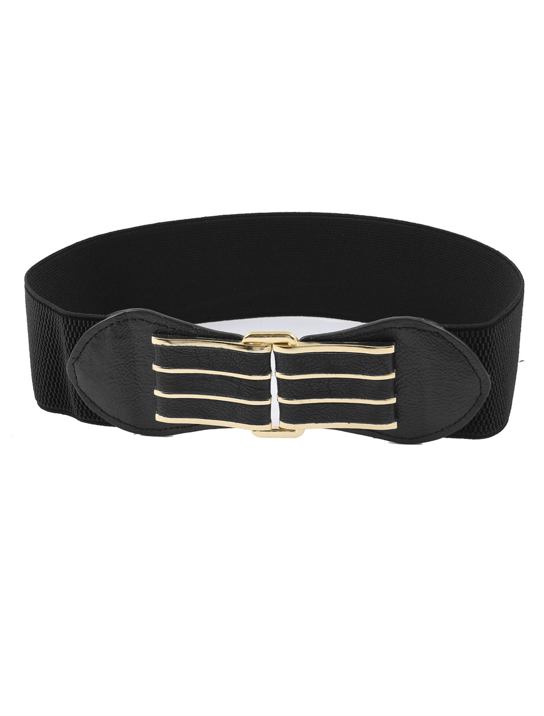 Dress Match Faux Leather Metal Buckle Stretch Waist Band Belt Black for Women