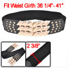 Women Interlocking Buckle Stretch Waistband Band Belt Black