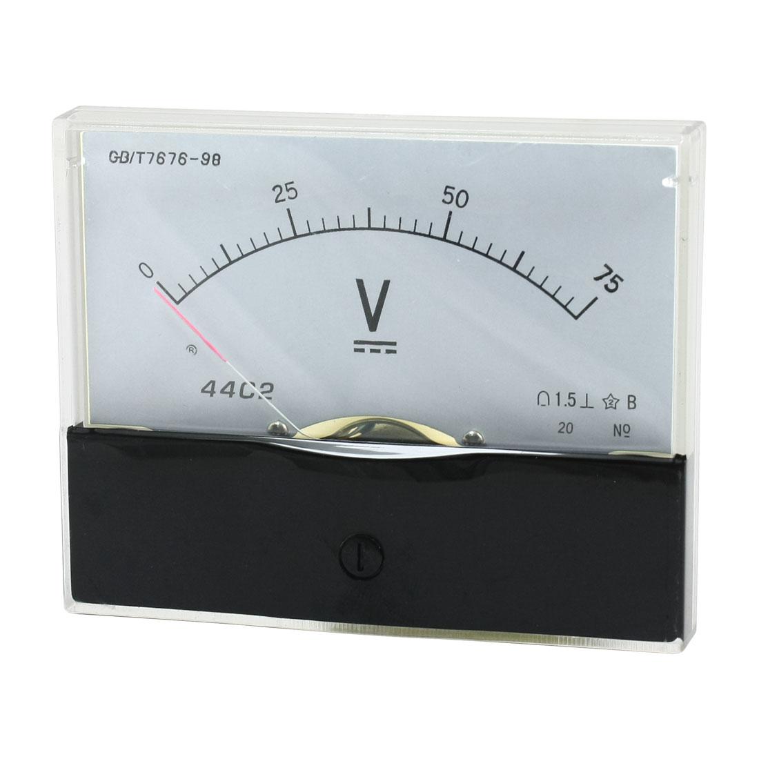 DC 0-75V Arabic Numerals Dial Panel Analog Voltmeter Volt Meter 44C2