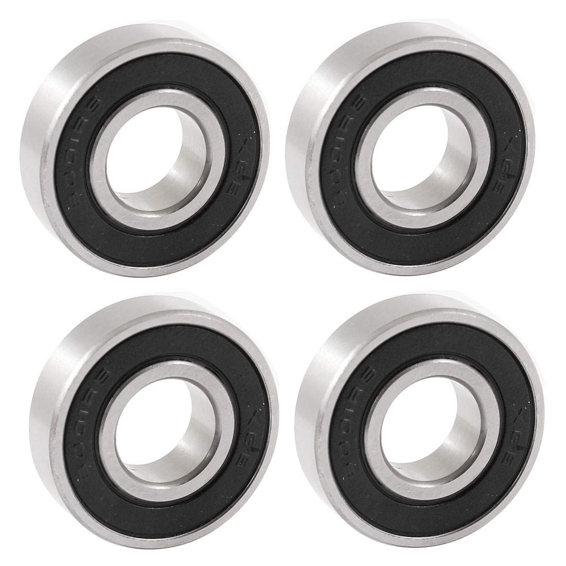 4 Pcs 6001RS 12mm x 28mm x 8mm Rubber Sealed Single Row Deep Groove Ball Bearing for Electric Motor