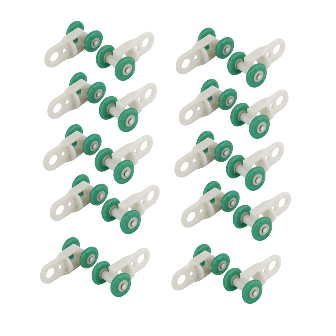 "0.5"" Diameter Green Wheels White Plastic Installation Curtain Track Rollers 20Pcs"