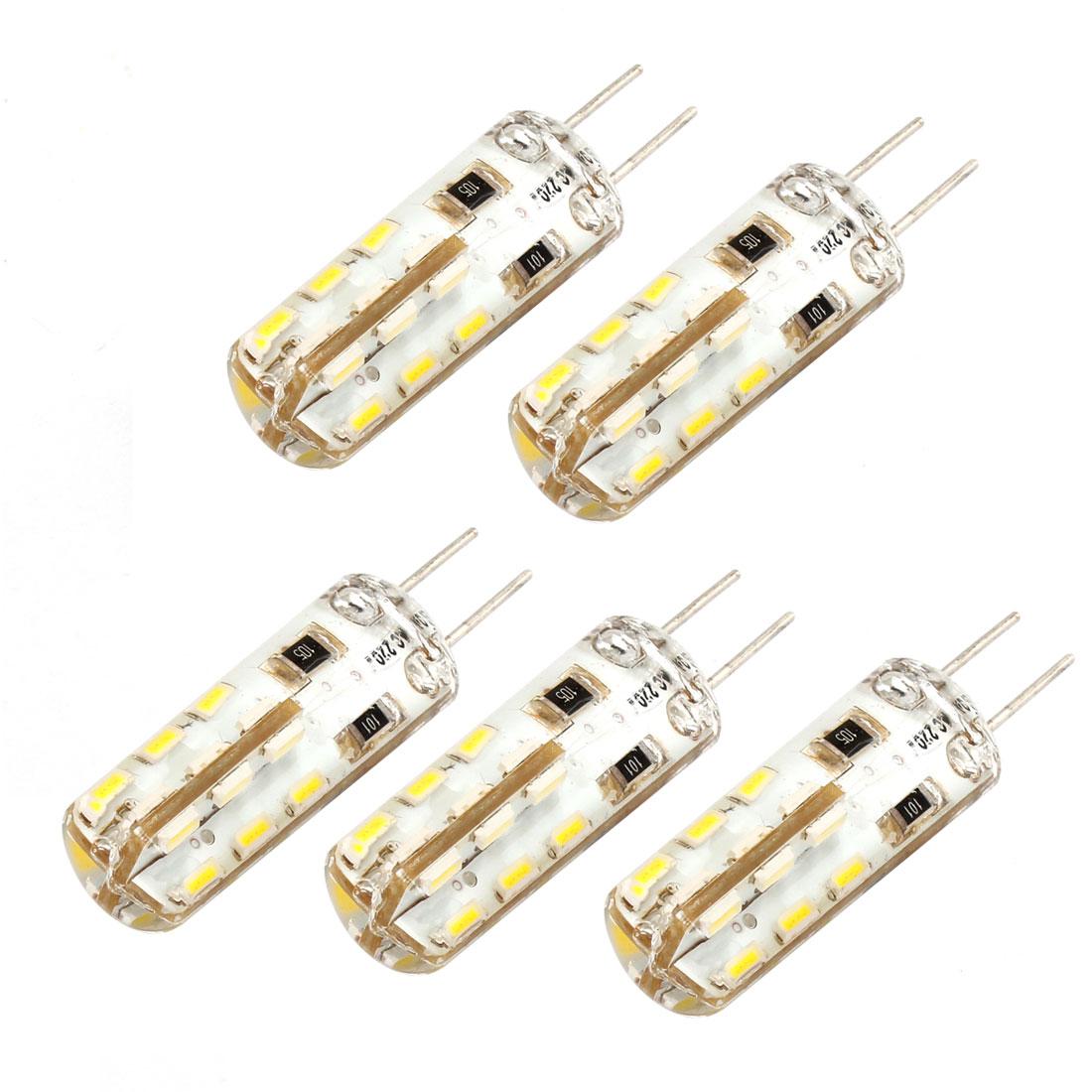 G4 2W 100-120LM 24 3014 SMD LED Light Lamp Bulb AC220V White 5 Pcs