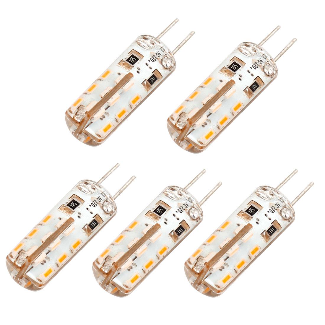 5 Pcs G4 2W 100-120LM 24 3014 SMD LED Light Lamp Bulb Warm White AC220V 2W