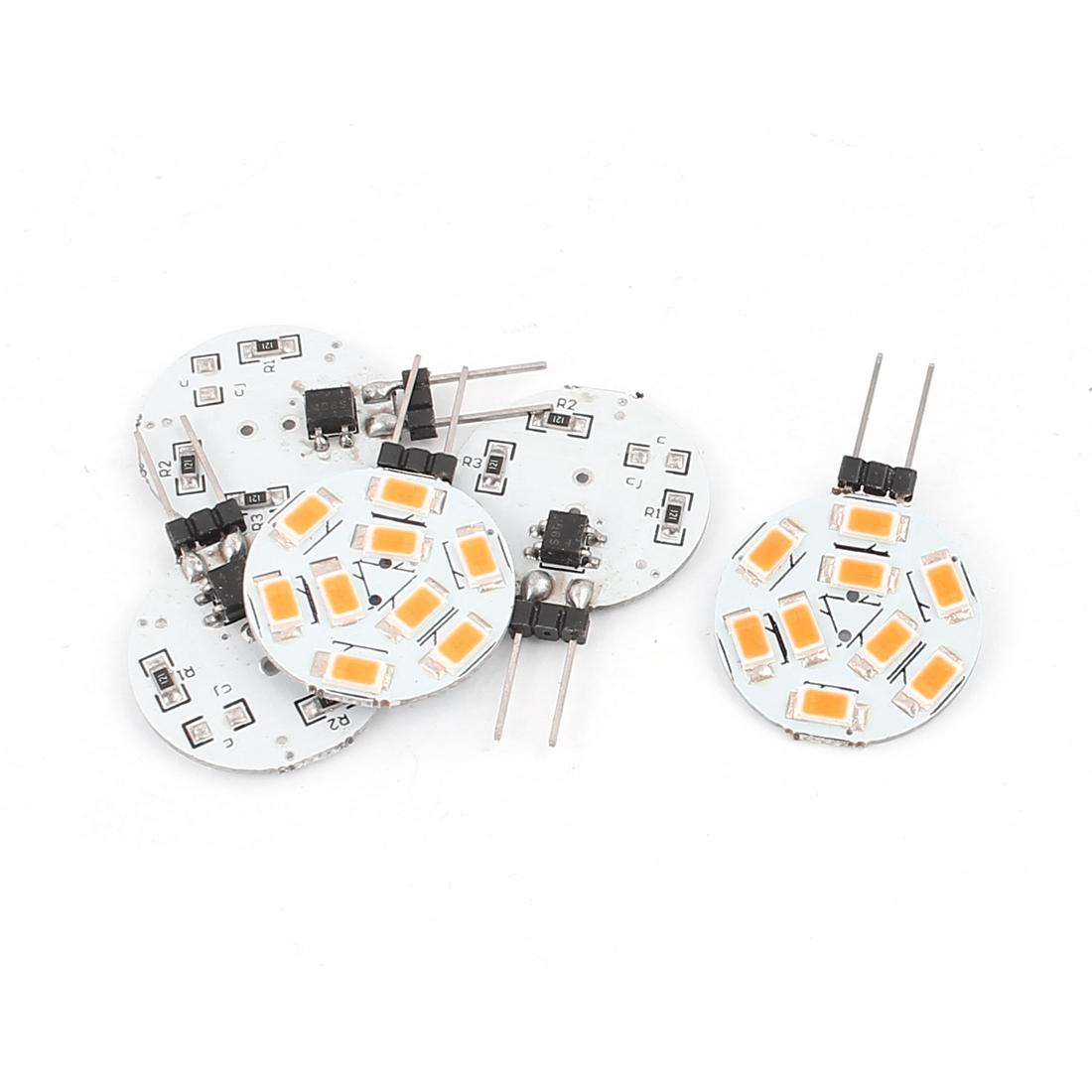 5 Pcs G4 Round Shaped Warm White 5730 SMD 350 Lumen 9 LED Bulb 10-30V 1.7W