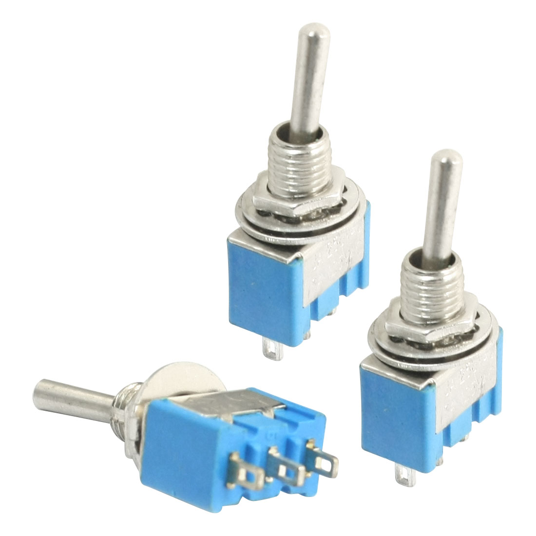 3Pcs 6mm Thread Panel Mounting SPDT 3 Pin Soldering 3 Position Blue Latching Toggle Switch AC 125V 6A 250V 3A