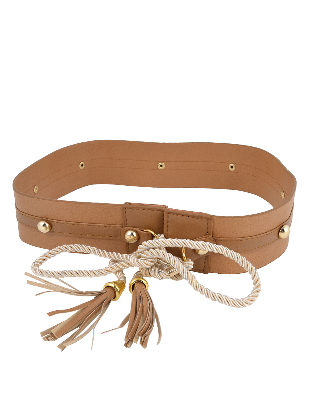 Women Brown Metal Rivets Studded Faux Leather 5cm Wide Band Waist Belt