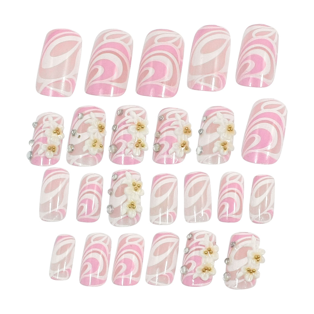 24 Pcs Rhinestone Flower Decor Pink White Plastic Self-Adhesive False Nails Tips for Woman