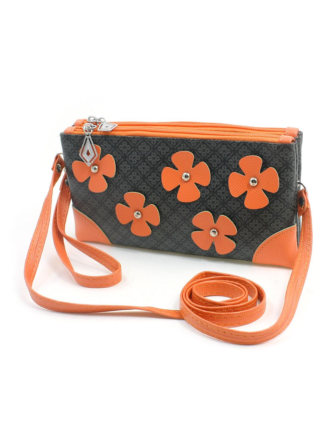 Woman Zippered 3 Compartments Five Orange Flowers Decor Plaid Pattern Dark Gray Faux Leather Shoulder Bag Purse Wallet w Hand Strap