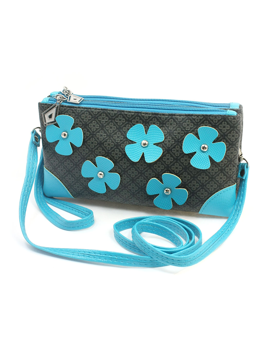 Lady Zippered 3 Compartments Five Blue Flowers Decor Plaid Pattern Dark Gray Faux Leather Shoulder Bag Purse Wallet w Hand Strap