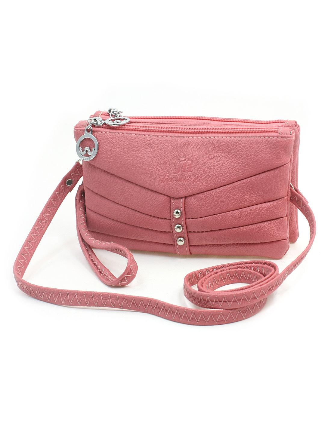 Women Zipper Closure 3 Compartments Litchi Pattern Pink Faux Leather Shoulder Bag Purse Wallet w Hand Strap