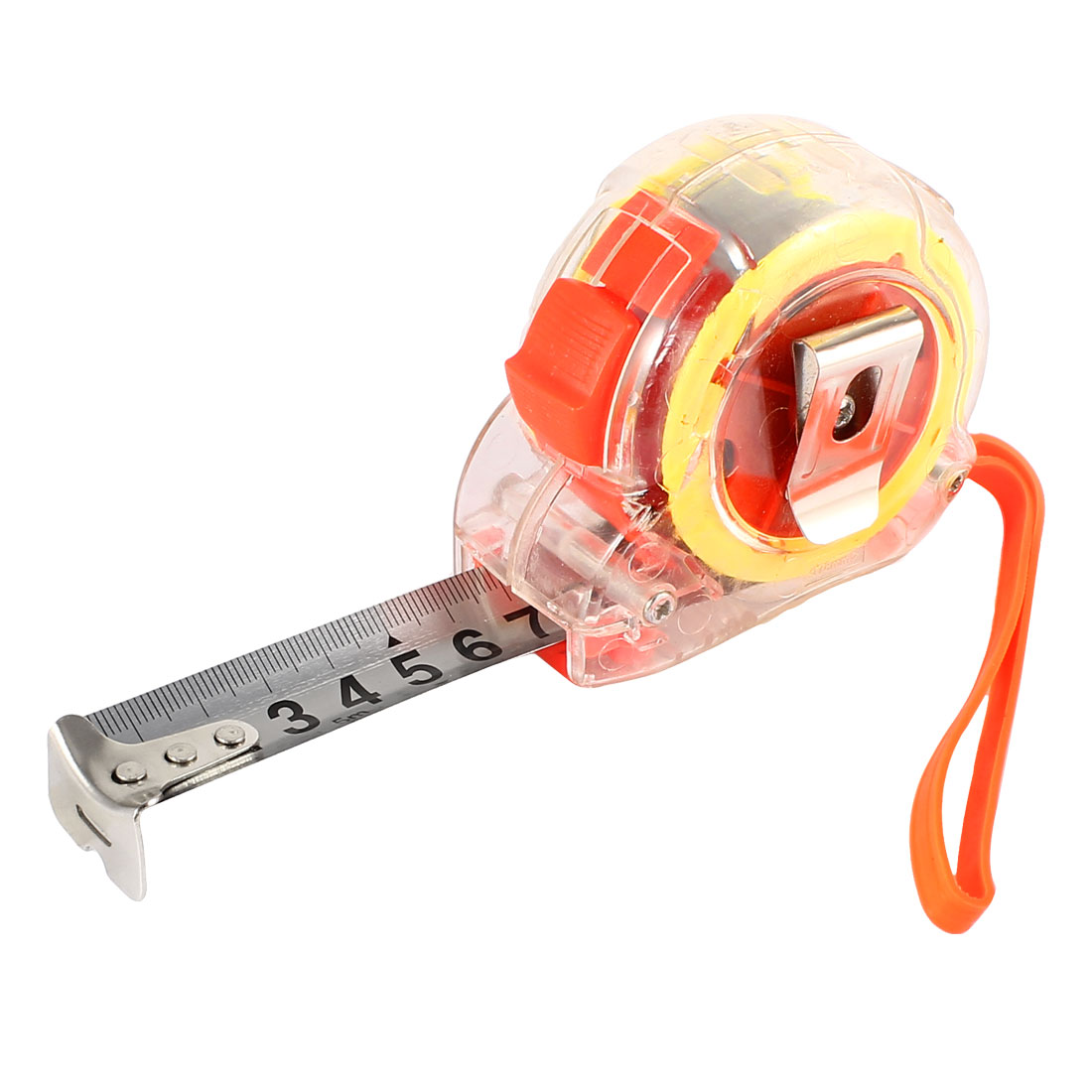 Clear Plastic Shell Hand Strap 5Meter x 22mm Numbers Scale Retractable Metal Measuring Tape