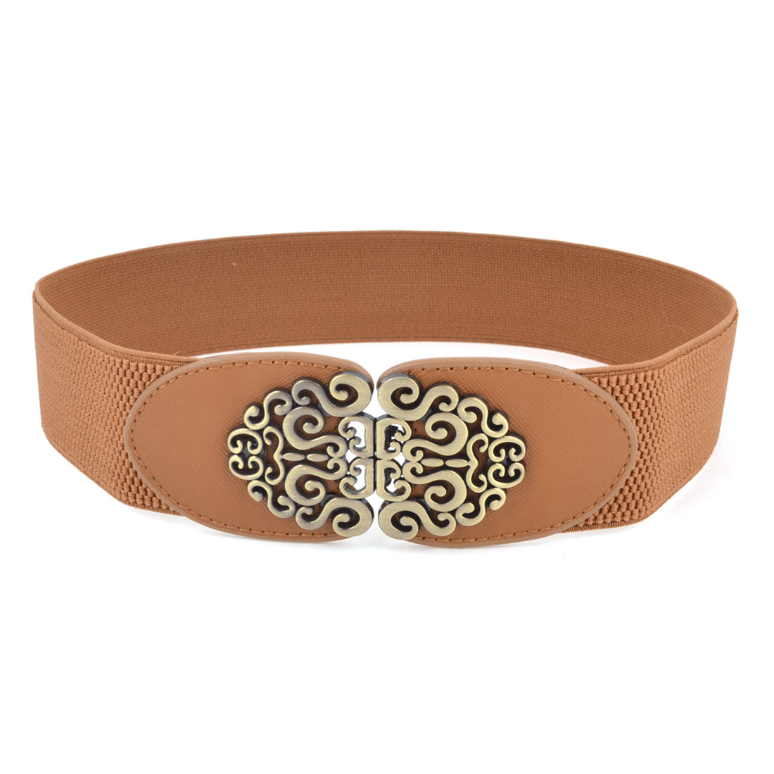 Ellipse Shape Metal Interlocking Buckle Stretchy Band Cinch Belt Brown for Lady