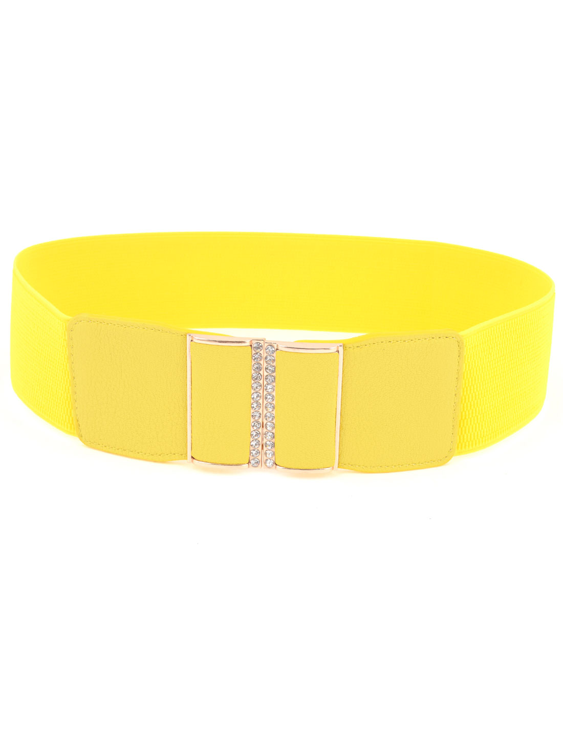 Women Yellow Faux Leather Buckle Part Textured Stretch Waistband Cinch Belt