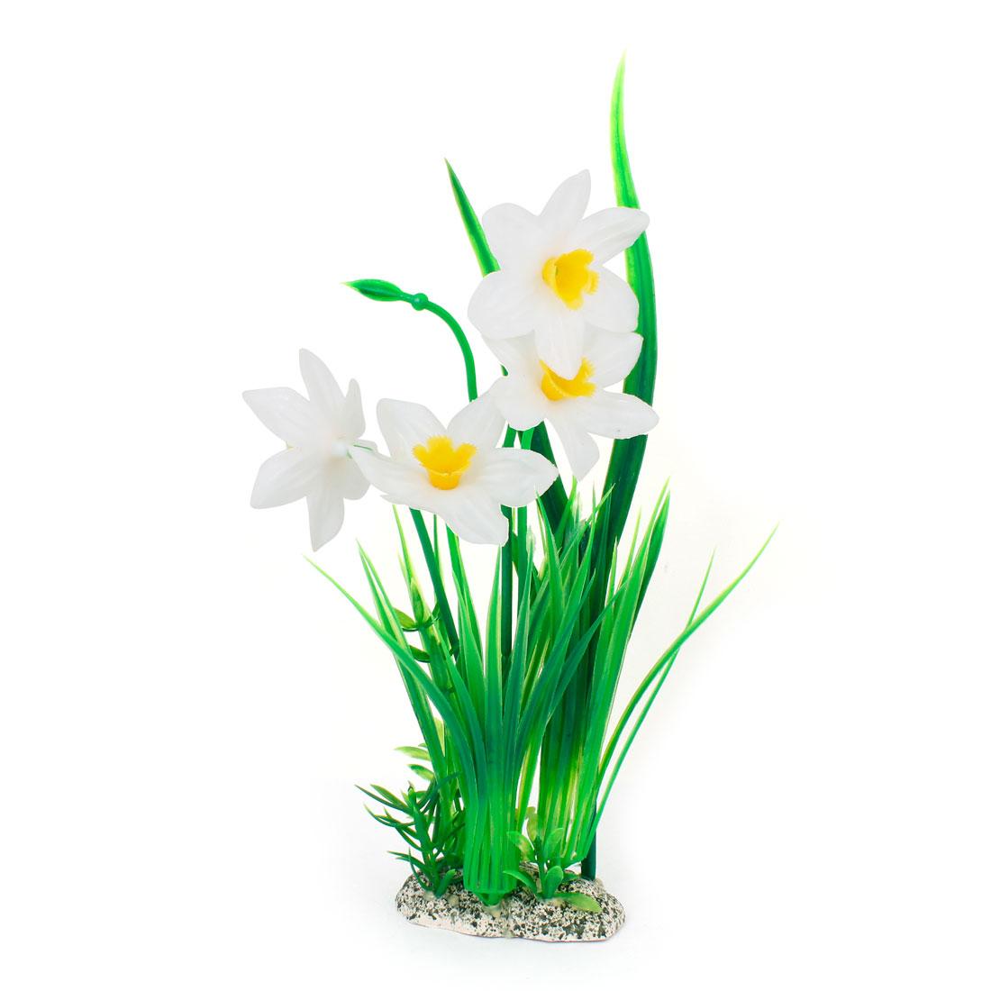 "Aquarium Manmade Aquatic Flower Plant Ornament 12.6"" Height Green White"