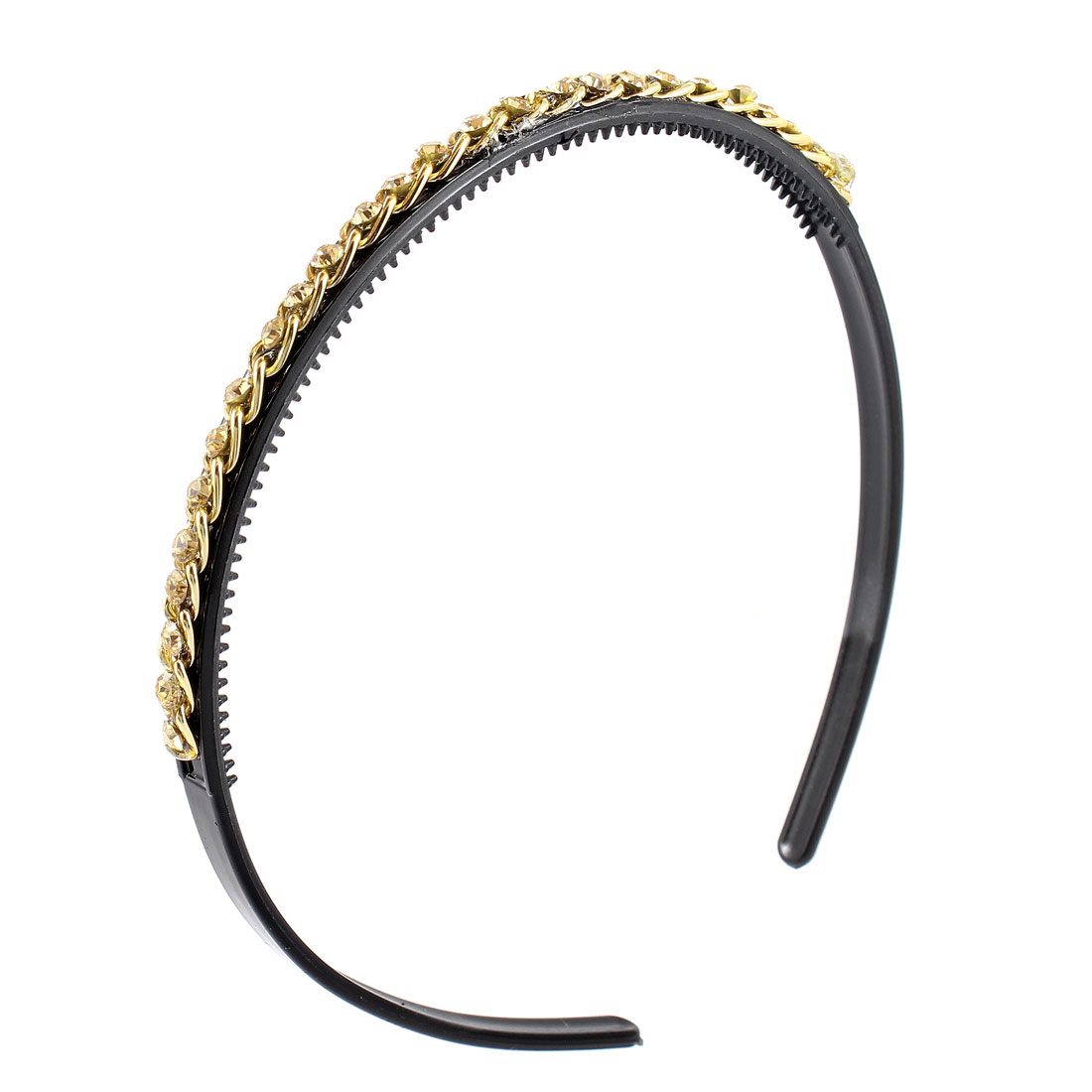 Ladies Gold Tone Rhinestone Metal Chain Decor Black Hair Hoop Band Headband