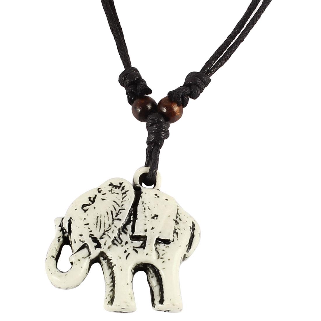 Woman Black Nylon Strap White Elephant Shaped Pendant Accent Necklace