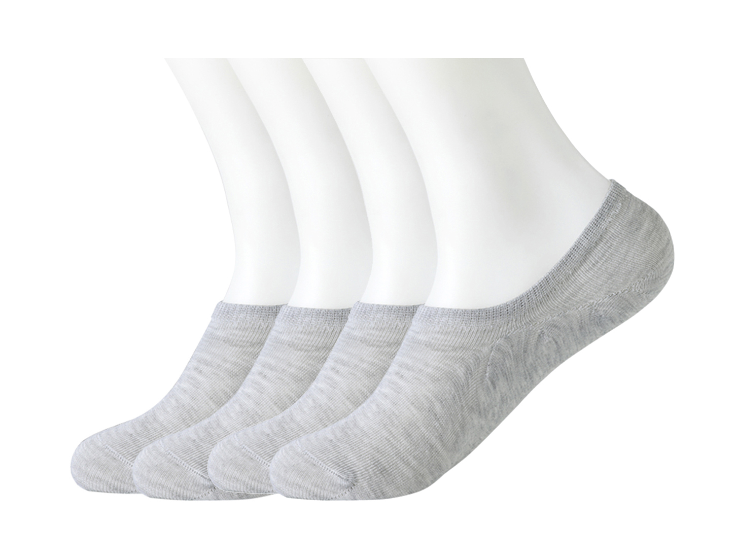 4 Pairs Light Gray Stretchy Sport Low Cut No Show Footie Boat Socks for Men