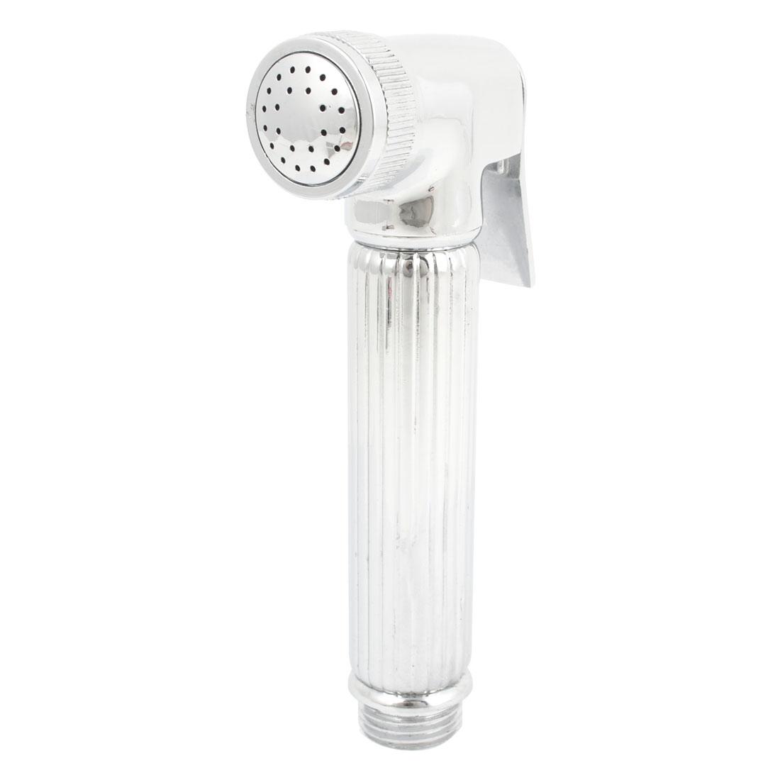 Bathroom Antislip Handle Handheld Shower Head Water Spray Silver Tone