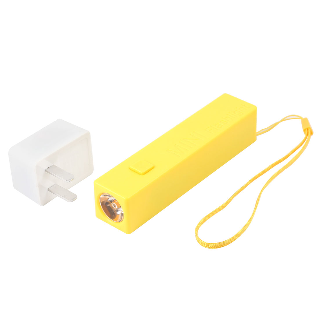 US Plug AC 100-240V Hand Pressing LED Flashlight Torch Yellow + Charger Adapter