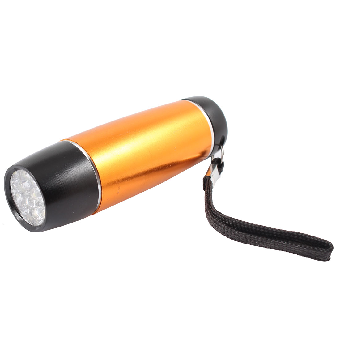 Portable Copper Tone Metal Housing 9 LED Light Bulb Flashlight Torch