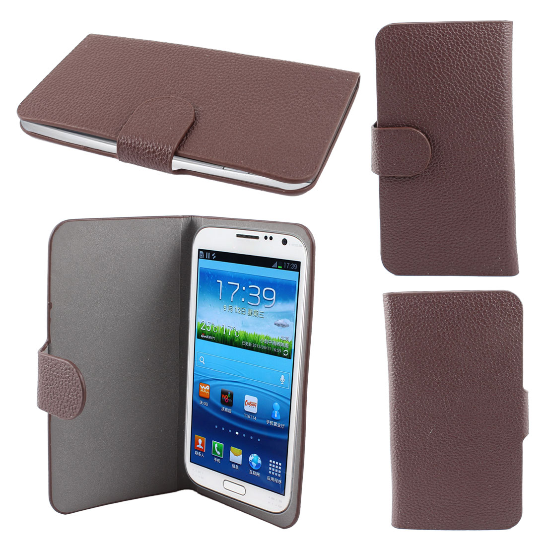 "PU Leather Self Adhesive Case Cover Card Holder Chocolate Color for 4.8"" Phone"