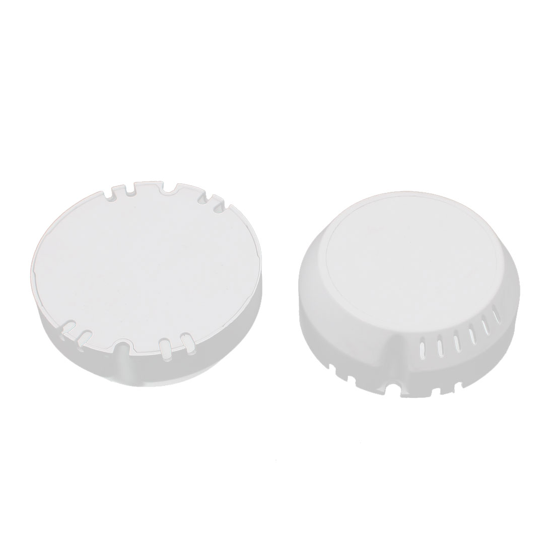 2Pcs 65 x 23mm White Plastic Round Shape Box Case for LED Power Supply Driver