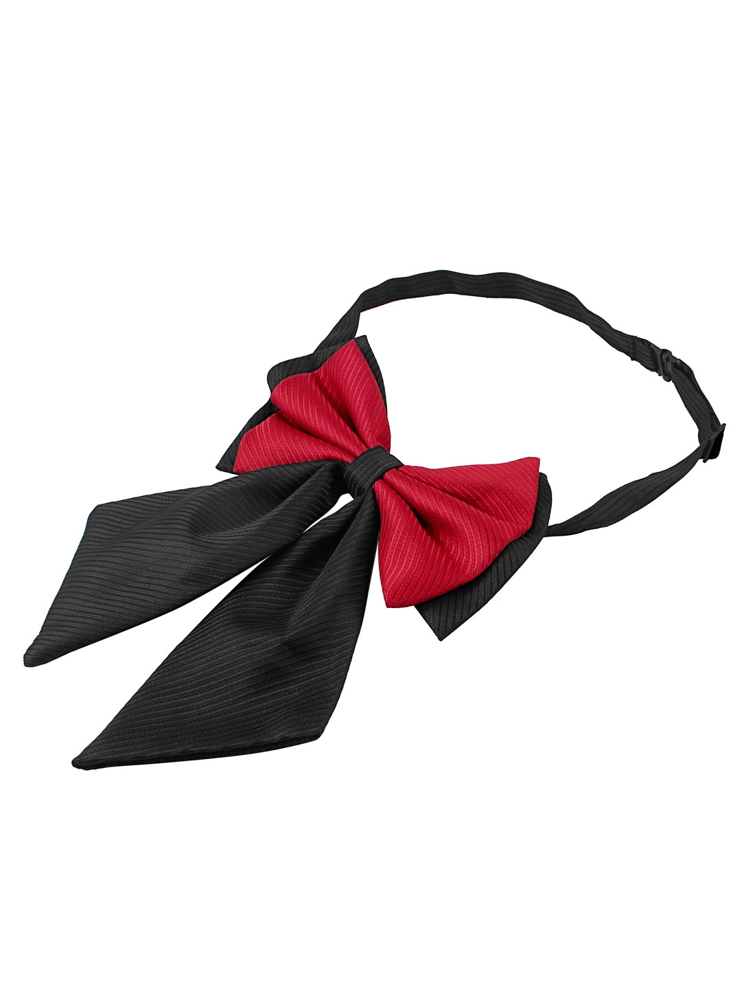 Man Stripe Pattern Polyester Bowknot Pre-tied Bow Tie Black Red
