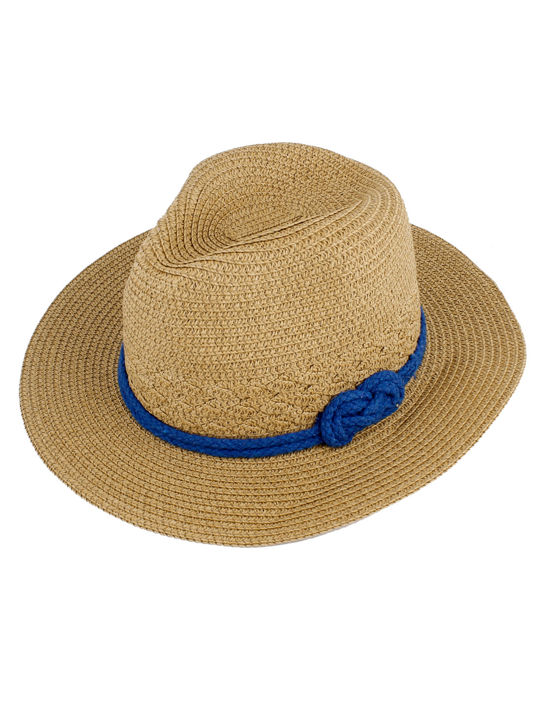 Women Braided Wide Brim Rope Decor Summer Beach Sun Straw Hat Brown