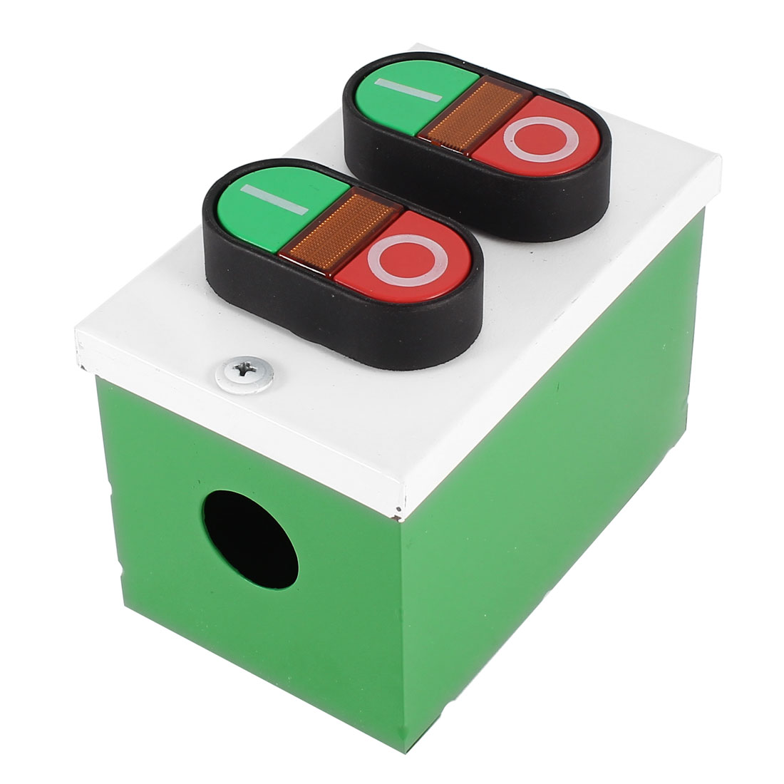 Ui 600V 10A Dual I/O Yellow LED Indication Momentary Push Button Switch Station