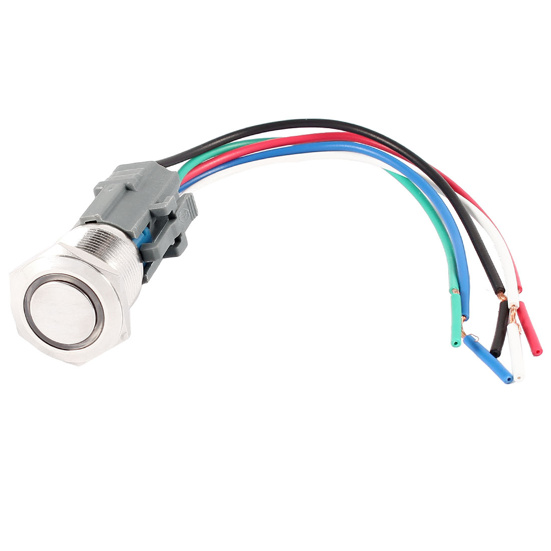Flat Head SPDT 19mm DC 12V Green Pilot LED Lamp Metal Locking Push Button Switch